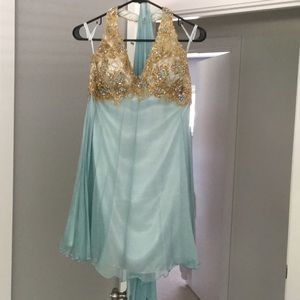 Halter baby blue sequin dress